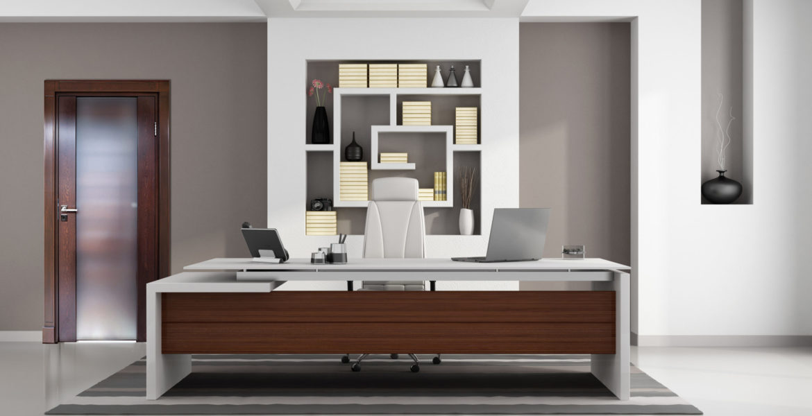 Contemporary modern office with elegant desk, niche and closed door - rendering
