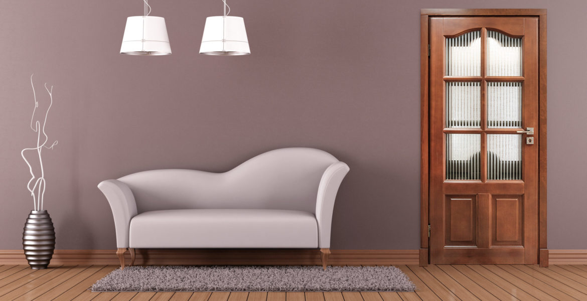 Brown living room with white sofa and closed door - rendering